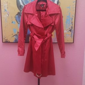 Pink Satin Trench Coat w/Belt